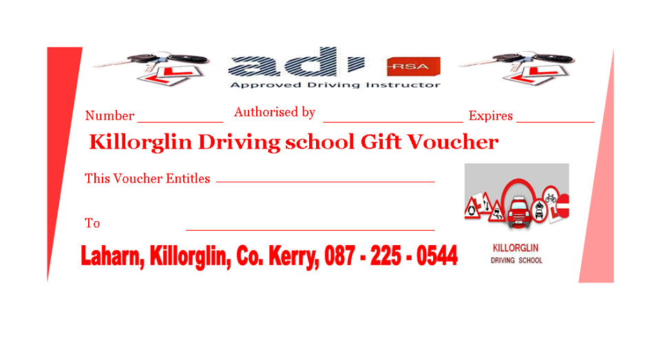 Driving Lessons Gift Vouchers the ideal gift in Kerry